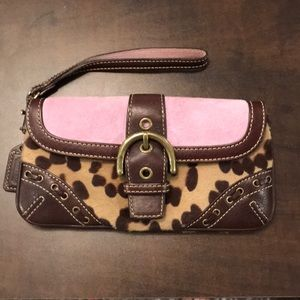 Leopard, brown and pink coach wristlet
